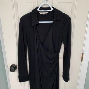 Diane Von Furstenberg black wool dress, M